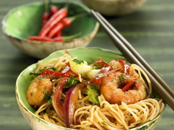 Thin Noodles with Shrimp and Veggies