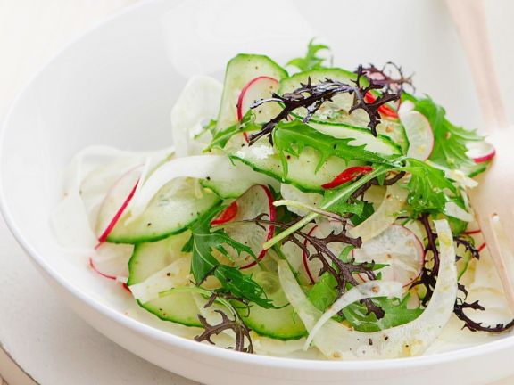 Thinly Sliced Cucumber Salad with Radish