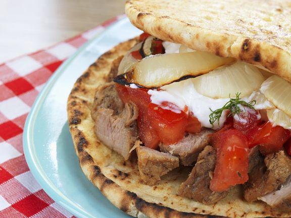 Toasted Greek Pork Flatbread