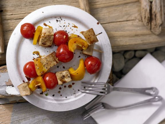 Tofu, Cherry Tomato and Bell Pepper Skewers