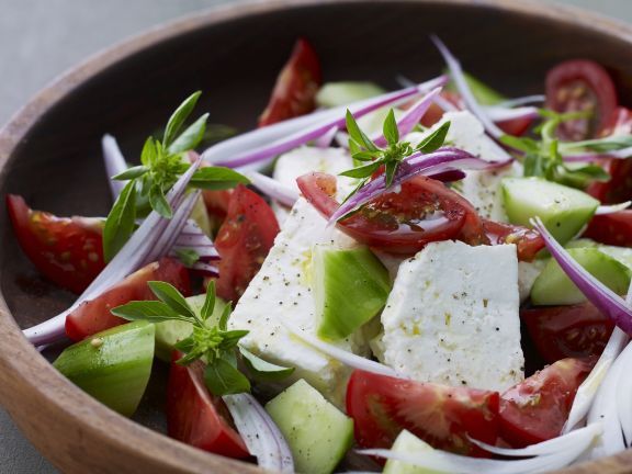 Tomato and Feta Cheese Salad with Cucumber
