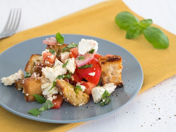 Tomato Bread Salad with Feta and Olives