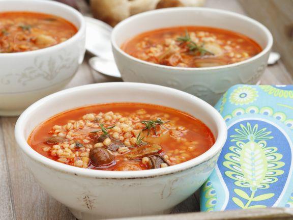 Tomato-Mushroom Barley Soup