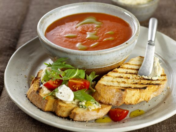 Tomato Soup with Basil Oil and Bruschetta