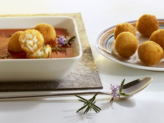 Tomato Soup with Deep-Fried Rice Balls