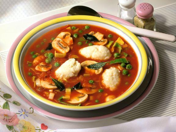 Tomato Soup with Semolina Dumplings