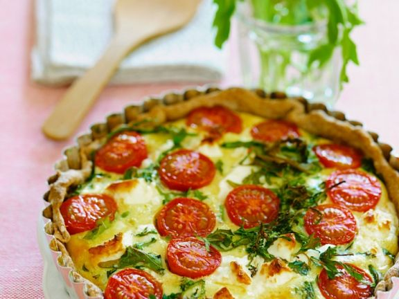 Tomato Tart with Cheese and Arugula