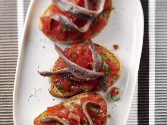 Tomato Toasts with Preserved Fish
