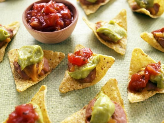 Tortilla Chips with Bean Puree, Guacamole, and Salsa