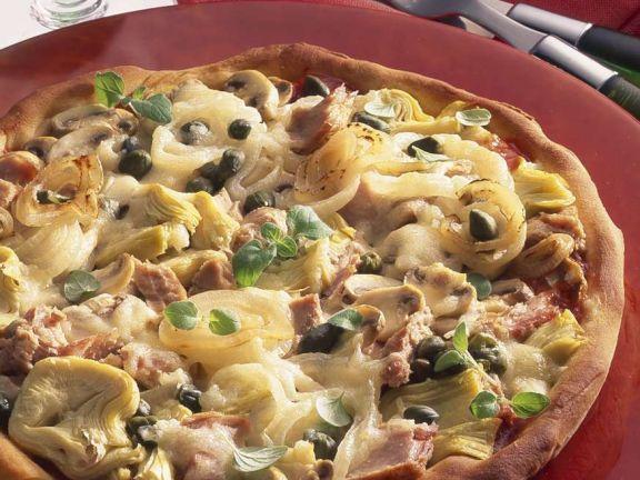 Tuna, Artichoke, Mushroom and Caper Pizza