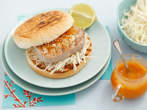 Tuna Burgers with Coleslaw and Mango Sauce