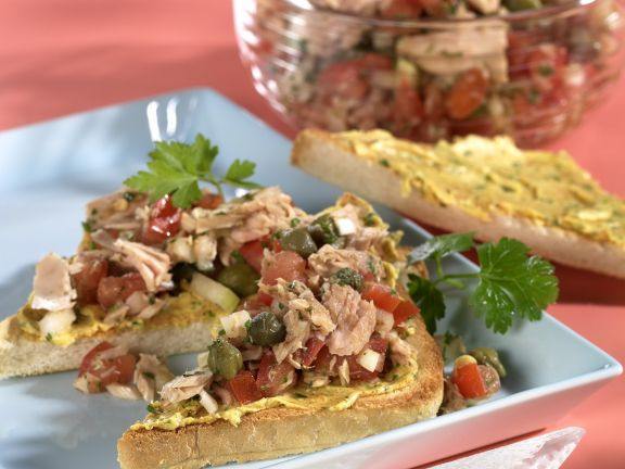 Tuna Salad on Toast with Seasoned Butter