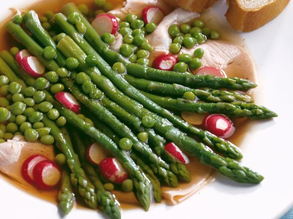 Turkey Aspic with Peas and Asparagus