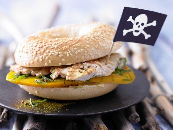 Turkey Bagel Sandwich with Mango