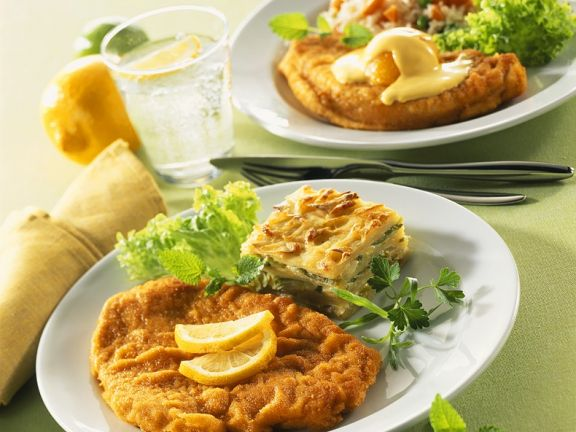 Turkey Cutlets with Lasagna and Vegetable Rice