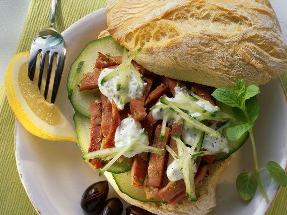 Greek Turkey and Cucumber Rolls