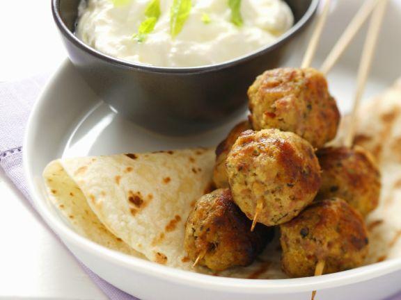 Turkey Meatballs with Mint Yogurt Dip