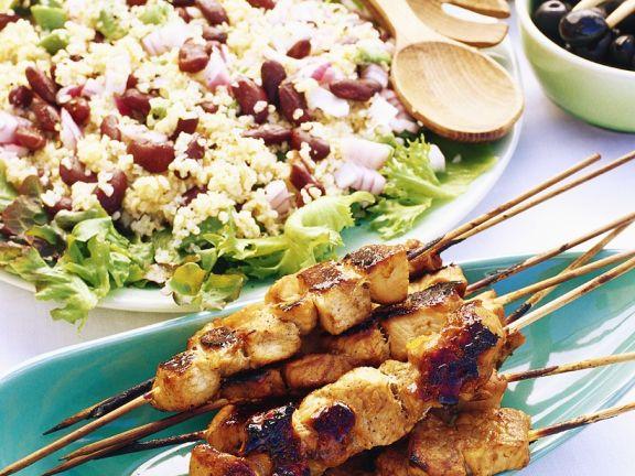 Turkey Skewers with Bulgur Salad