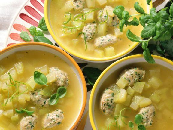 Turnip Soup with Veal Dumplings
