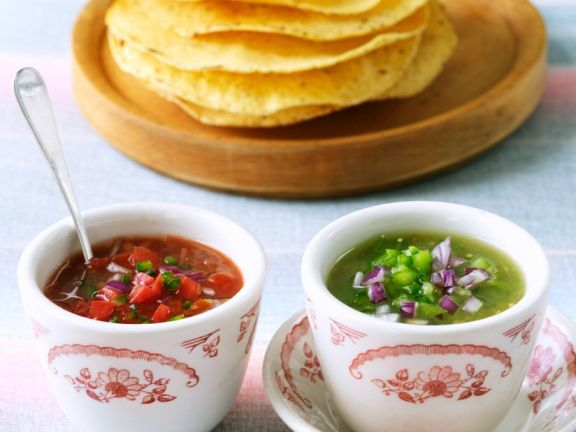 Two Kinds of Salsas with Tortillas