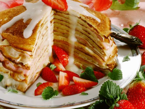 Pancake Stack with Custard