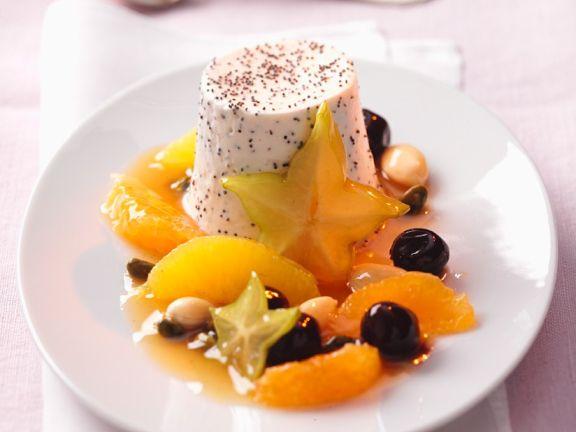 Vanilla Flan and Fruit Salad