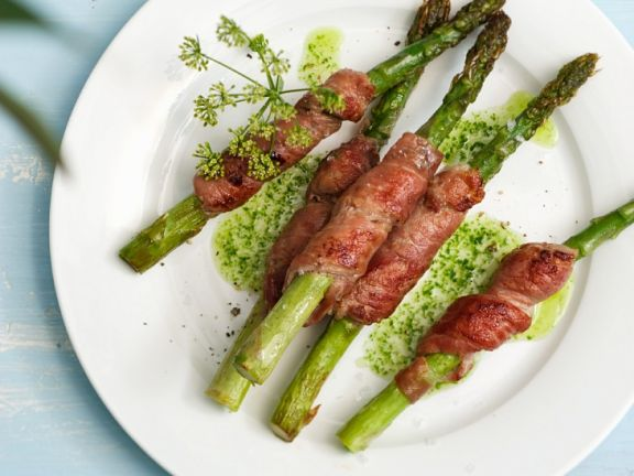Veal and Asparagus Rolls with Herb Oil