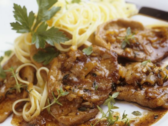 Veal Escalopes with Onions and Pasta