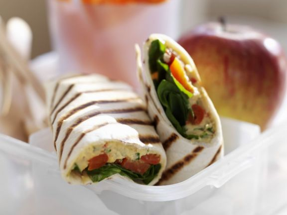 Vegetable and Hummus Tortilla Wrap