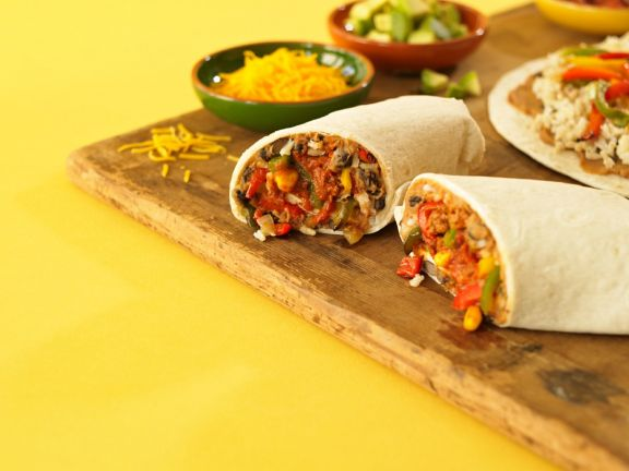 Vegetable Burrito with Rice and Black Beans
