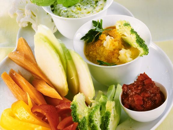 Vegetable Crudite with Three Dips