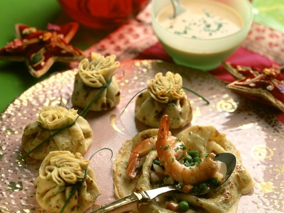 Vegetable Filled Crepe Pouches with Shrimp