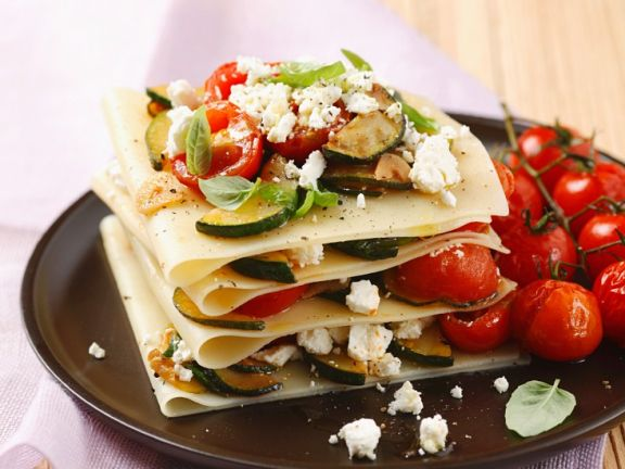 Vegetable Lasagna with Feta Cheese