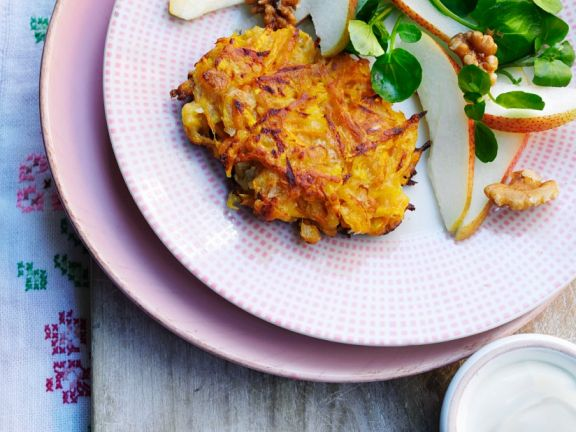 Vegetable Pancakes with Pear and Watercress Salad