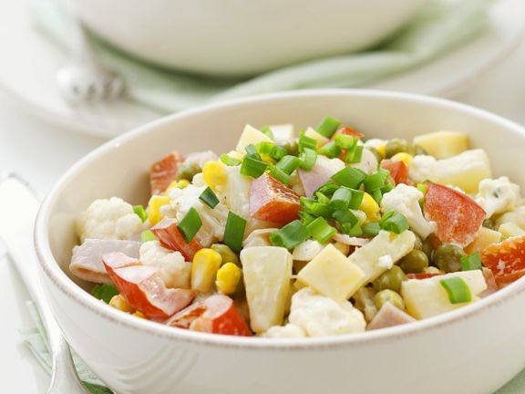 Vegetable Salad with Ham, Cheese and Fruit