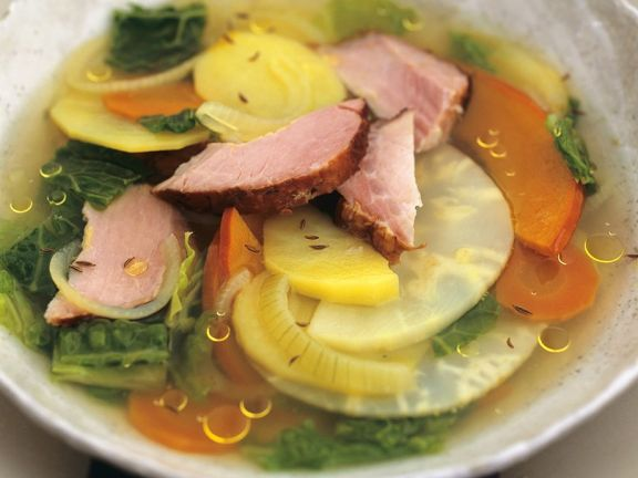 Vegetable Soup with Smoked Pork
