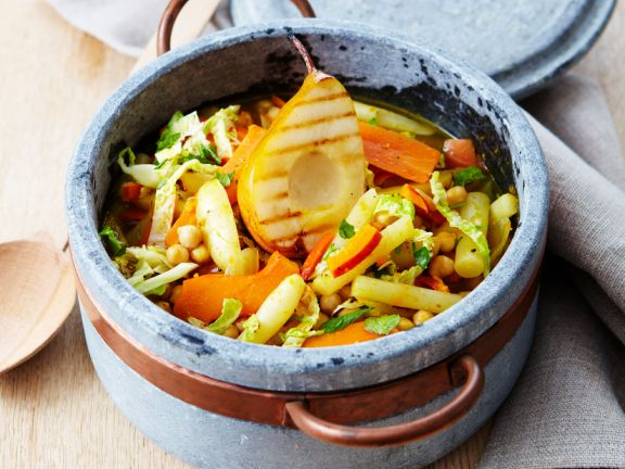 Vegetable Stew with Grilled Pears