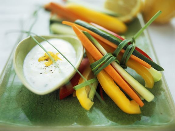 Vegetable Sticks with Olive and Lemon Cream