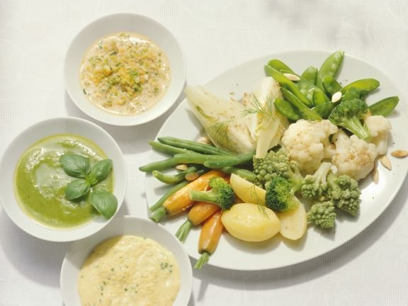 Vegetables with Three Sauces