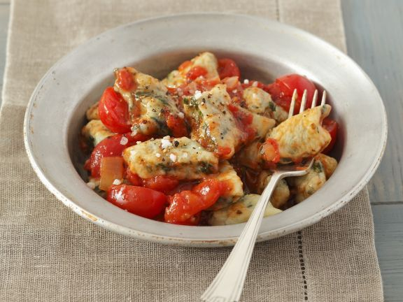 Veggie Dumplings with Tomatoes