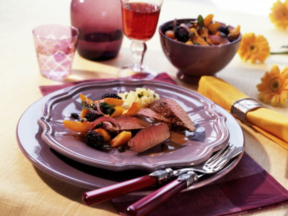 Venison Fillet with Pumpkin and Blackberries