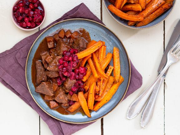 Venison Goulash with Baked Carrots