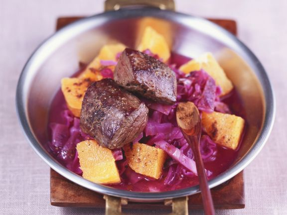 Dear Fillet with Citrus Braised Cabbage