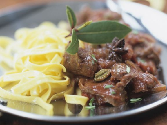 Venison Stew with Egg Noodles
