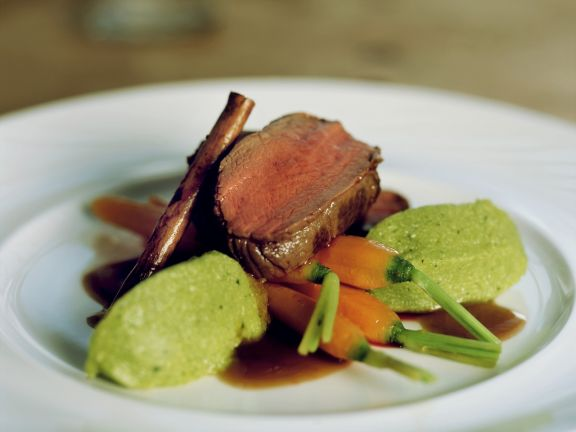 Venison with Herb Dumplings and Cinnamon Carrots