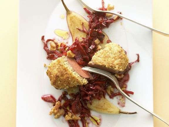 Venison with Red Cabbage and Pears