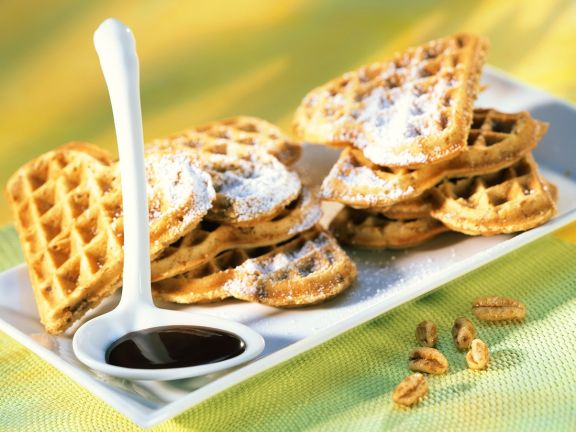 Waffles with Chocolate Sauce