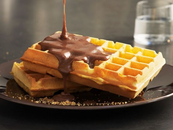 Waffles with Spiced Chocolate Sauce