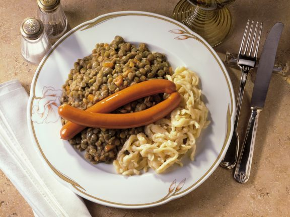 Warm Lentils with Sausage and Spaetzle