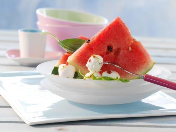 Watermelon with Mozzarella and Basil
